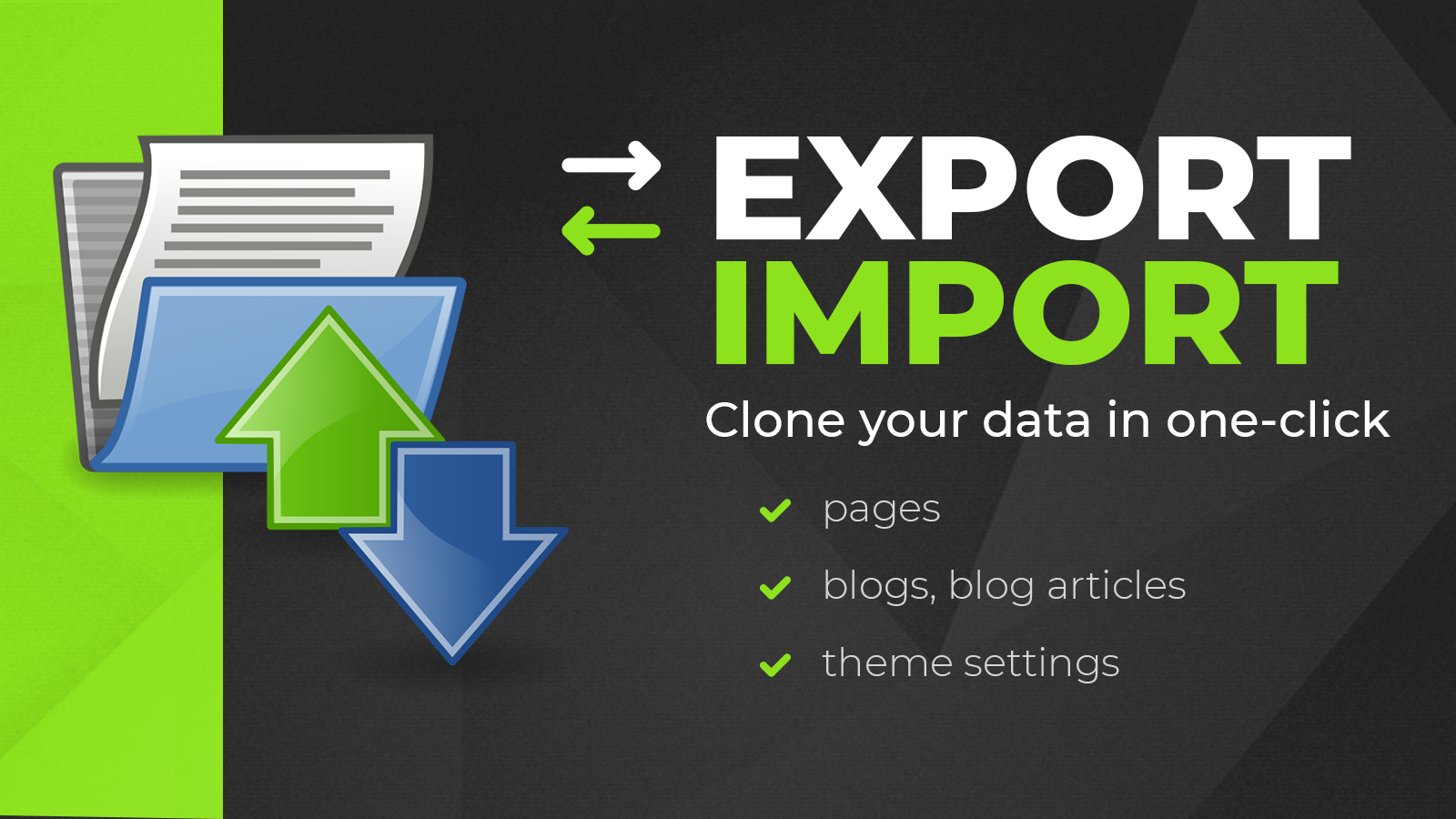 Export, import pages, blog articles and theme settings