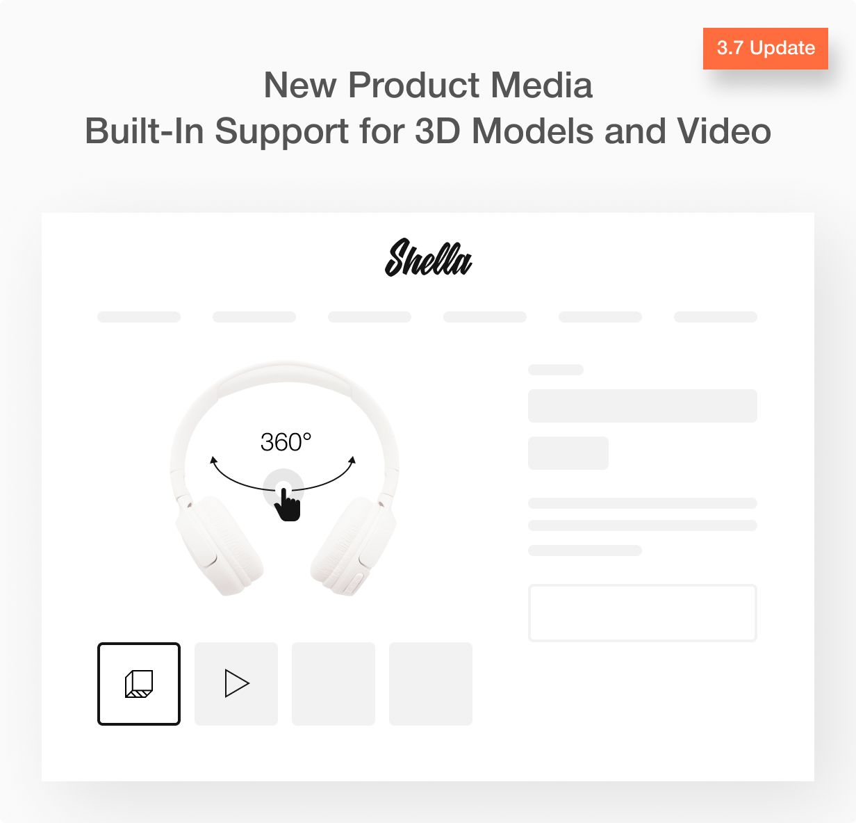 Shella Shopify theme version 3.7 New product media support
